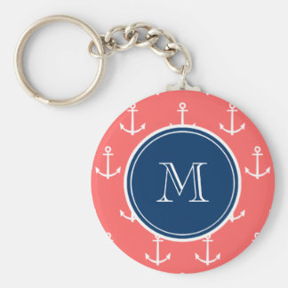 Coral White Anchors Pattern, Navy Blue Monogram Basic Round Button Key Ring