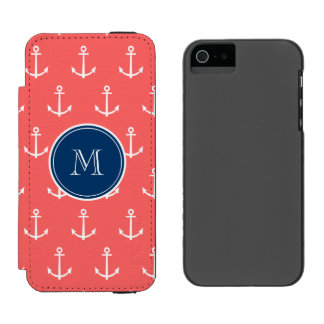 Coral White Anchors Pattern, Navy Blue Monogram Incipio Watson™ iPhone 5 Wallet Case