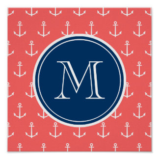 Coral White Anchors Pattern, Navy Blue Monogram Poster