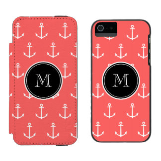 Coral White Anchors Pattern, Your Monogram Incipio Watson™ iPhone 5 Wallet Case