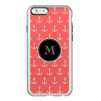 Coral White Anchors Pattern, Your Monogram Incipio Feather® Shine iPhone 6 Case