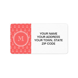 Coral White Anchors Pattern, Your Monogram Label