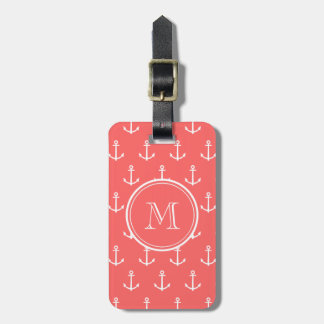 Coral White Anchors Pattern, Your Monogram Luggage Tag
