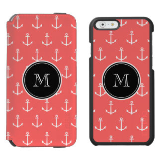Coral White Anchors Pattern, Your Monogram Incipio Watson™ iPhone 6 Wallet Case