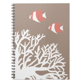 Coral White and Ivory Beige Tropical Angelfish Spiral Notebook