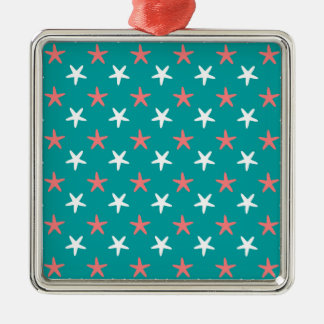 Coral White and Teal Starfish Pattern Christmas Ornament