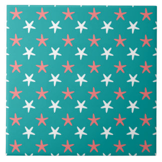 Coral White and Teal Starfish Pattern Tile