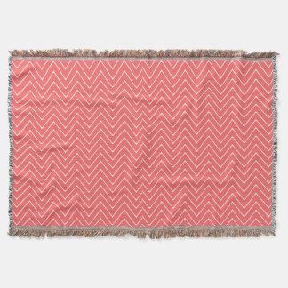 Coral White Chevron Pattern Throw Blanket