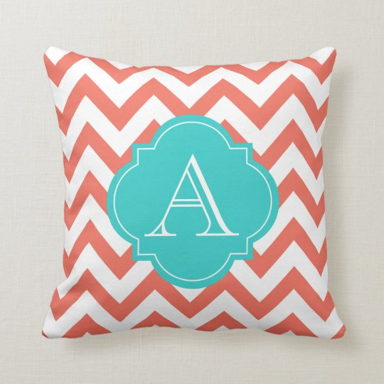 Coral & White Chevron Stripes Aqua Monogram Pillow