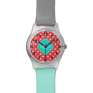 Coral White Dots Brt Aqua Quatrefoil 3 Monogram Watch