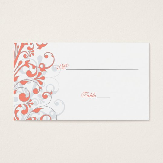 Coral, White Floral Wedding Place Cards