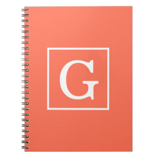 Coral White Framed Initial Monogram Note Books
