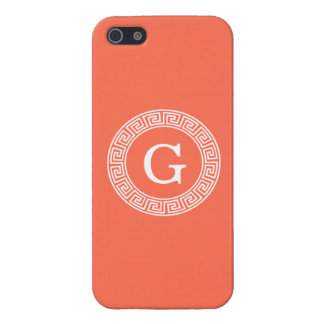 Coral White Greek Key Rnd Frame Initial Monogram Cover For iPhone 5/5S