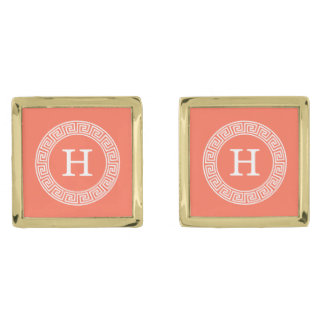 Coral White Greek Key Rnd Frame Initial Monogram Gold Finish Cuff Links