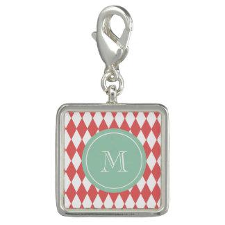 Coral White Harlequin Pattern, Mint Monogram Charm Bracelet