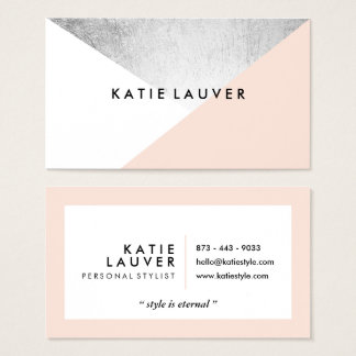 Coral white modern faux silver foil color block