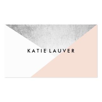 Coral white modern faux silver foil color block pack of standard business cards