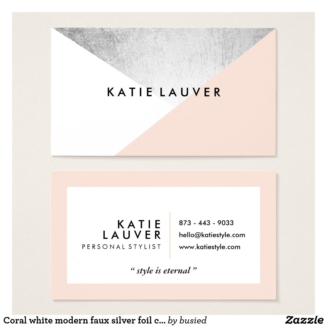 Coral white modern faux silver foil colour block