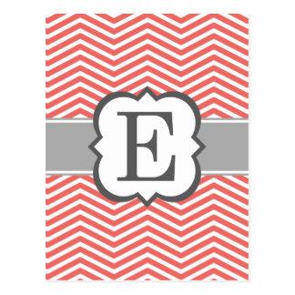 Coral White Monogram Letter E Chevron Postcard