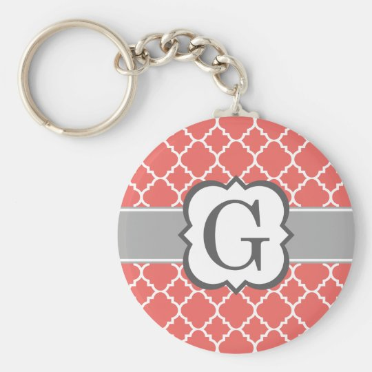Coral White Monogram Letter G Quatrefoil Basic Round Button Key Ring