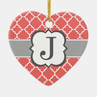 Coral White Monogram Letter J Quatrefoil Christmas Ornament