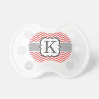 Coral White Monogram Letter K Chevron Pacifiers