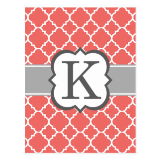 Coral White Monogram Letter K Quatrefoil Postcard