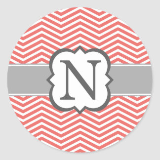 Coral White Monogram Letter N Chevron Round Sticker