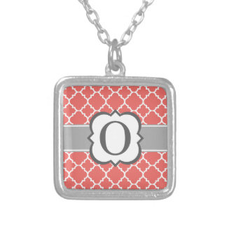 Coral White Monogram Letter O Quatrefoil Silver Plated Necklace