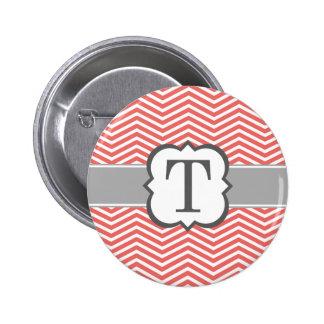 Coral White Monogram Letter T Chevron 6 Cm Round Badge