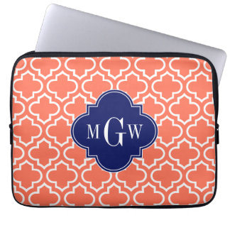 Coral White Moroccan #6 Navy 3 Initial Monogram Laptop Computer Sleeve
