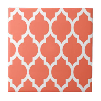 Coral White Moroccan Quatrefoil Pattern #4 Tile