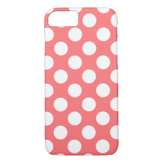 Coral White Polka Dots Pattern Girly iPhone 7 case
