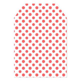 Coral White Polka Dots Pattern 13 Cm X 18 Cm Invitation Card