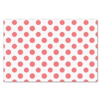 Coral White Polka Dots Pattern Tissue Paper