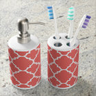 Coral White Quatrefoil Moroccan Pattern Soap Dispenser And Toothbrush Holder