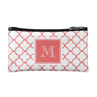 Coral White Quatrefoil | Your Monogram Cosmetic Bag