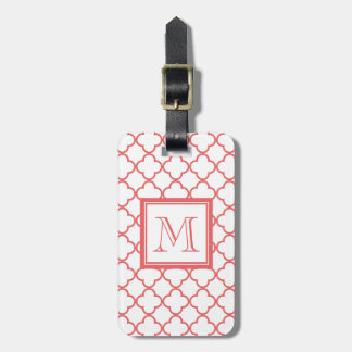 Coral White Quatrefoil | Your Monogram Luggage Tag