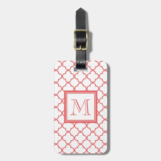 Coral White Quatrefoil | Your Monogram Bag Tags
