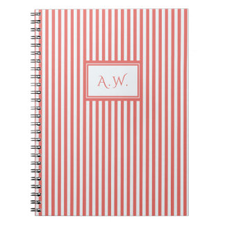 Coral & White Sailor Stripes Monogram Notebook