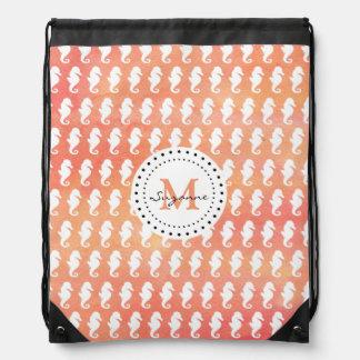 Coral White Seahorses Pattern | Monogram Drawstring Bag