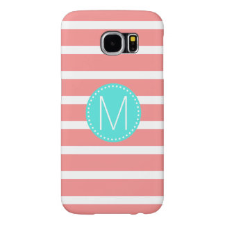 Coral & White Stripe with Turquoise Monogram