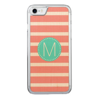 Coral & White Stripe with Turquoise Monogram Carved iPhone 8/7 Case