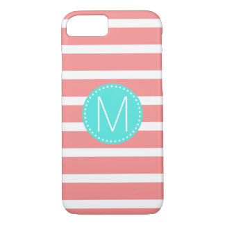 Coral & White Stripe with Turquoise Monogram iPhone 8/7 Case