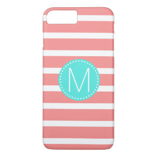 Coral & White Stripe with Turquoise Monogram iPhone 8 Plus/7 Plus Case