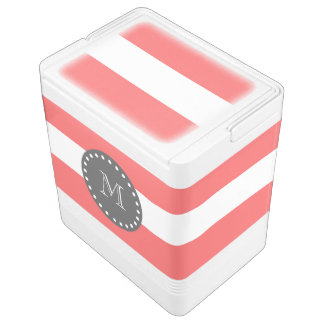 Coral White Stripes Pattern, Charcoal Monogram Igloo Cooler