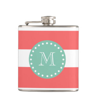 Coral White Stripes Pattern, Mint Green Monogram Hip Flask