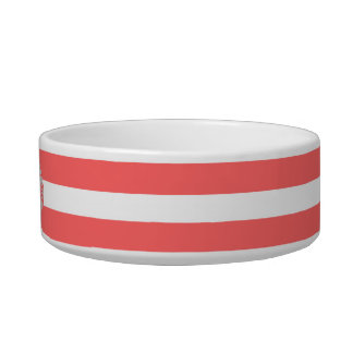 Coral | White Stripes Pattern Monogram Bowl