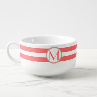 Coral | White Stripes Pattern Monogram Soup Mug