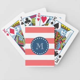 Coral White Stripes Pattern, Navy Blue Monogram Bicycle Playing Cards